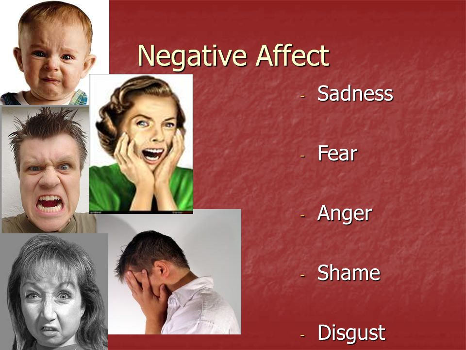 Negative Affect - Sadness - Fear - Anger - Shame - Disgust