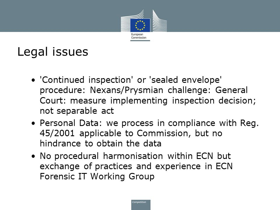Legal issues 'Continued inspection' or 'sealed envelope' procedure: Nexans/Prysmian challenge: General Court: measure implementing inspection decision
