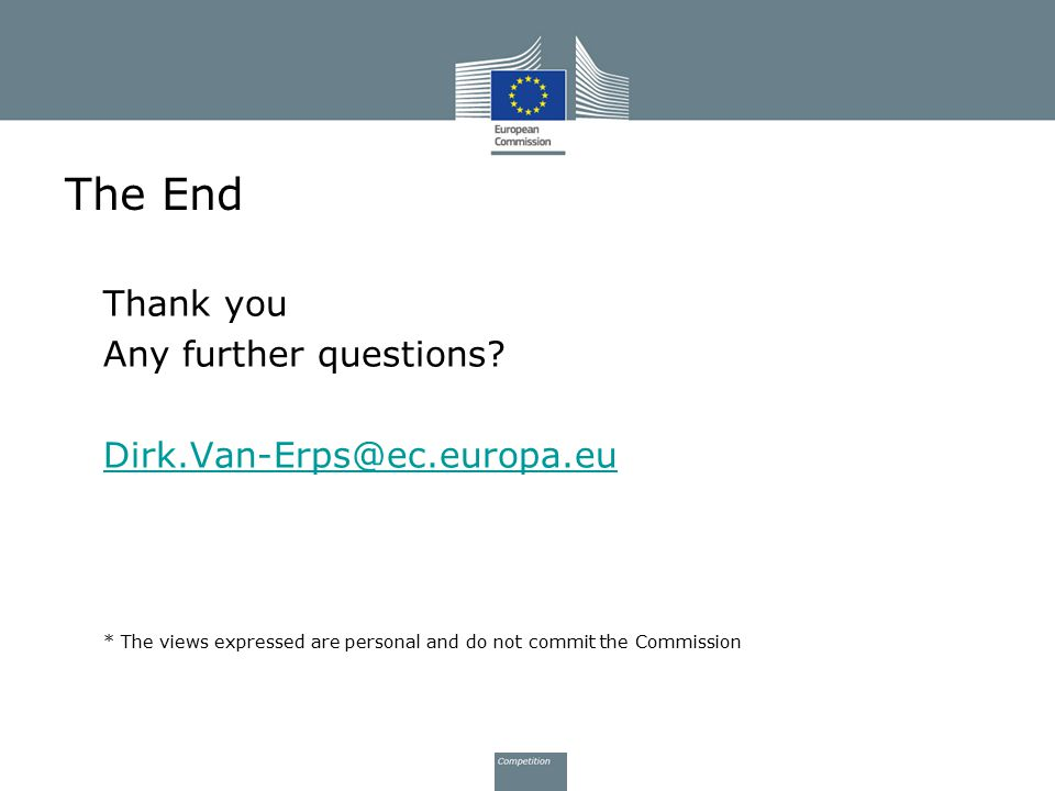 The End Thank you Any further questions? Dirk.Van-Erps@ec.europa.eu * The views expressed are personal and do not commit the Commission