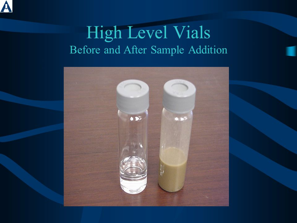 High Level Vials Before and After Sample Addition