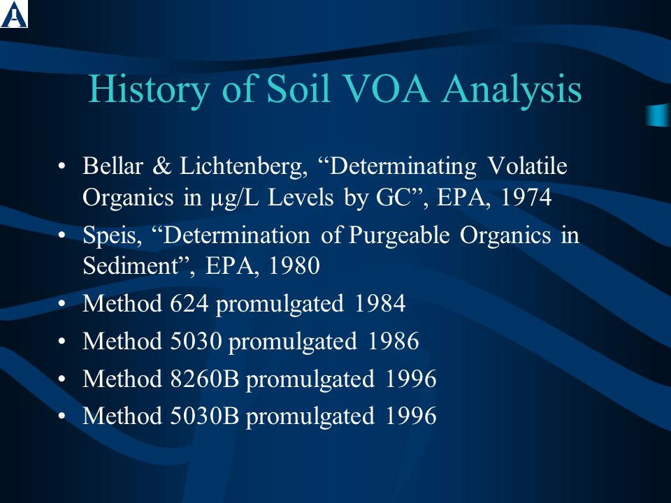SW-846 1 Method 5035A Method 5035 (promulgated in 1997) is a method for the collection, preservation, and analytical preparation of soil samples for volatile compound analysis.