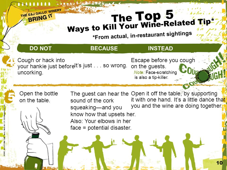 The Top 5 Ways to Kill Your Wine-Related Tip* *From actual, in-restaurant sightings 10 ©2008, Ernest & Julio Gallo Winery.