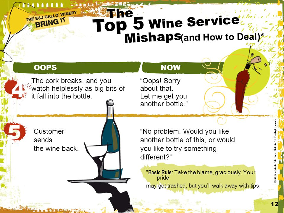 Top 5 Wine Service (and How to Deal)* 12 ©2008, Ernest & Julio Gallo Winery.