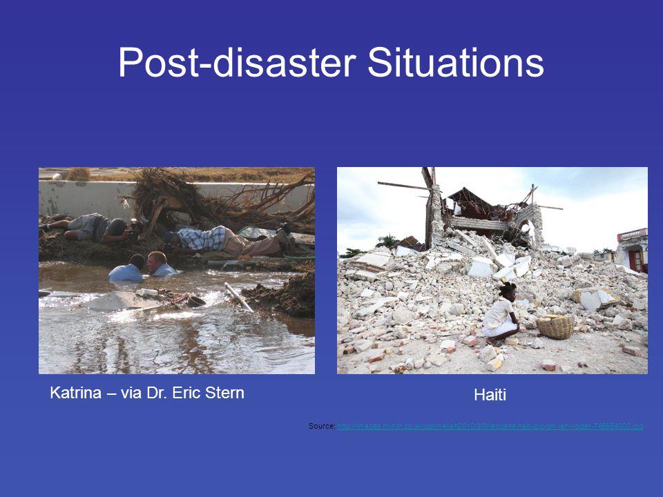 Post-disaster Situations Katrina – via Dr.