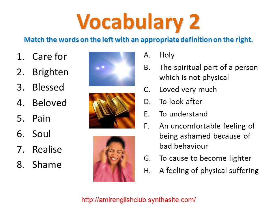 Vocabulary 2 Match the words on the left with an appropriate definition on the right.