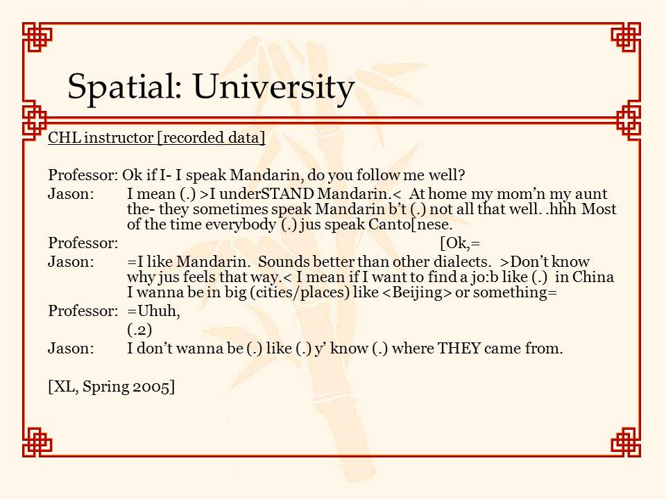 Spatial: University CHL instructor [recorded data] Professor: Ok if I- I speak Mandarin, do you follow me well.