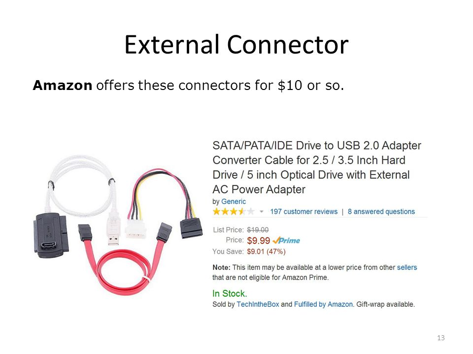External Connector 13 Amazon offers these connectors for $10 or so.
