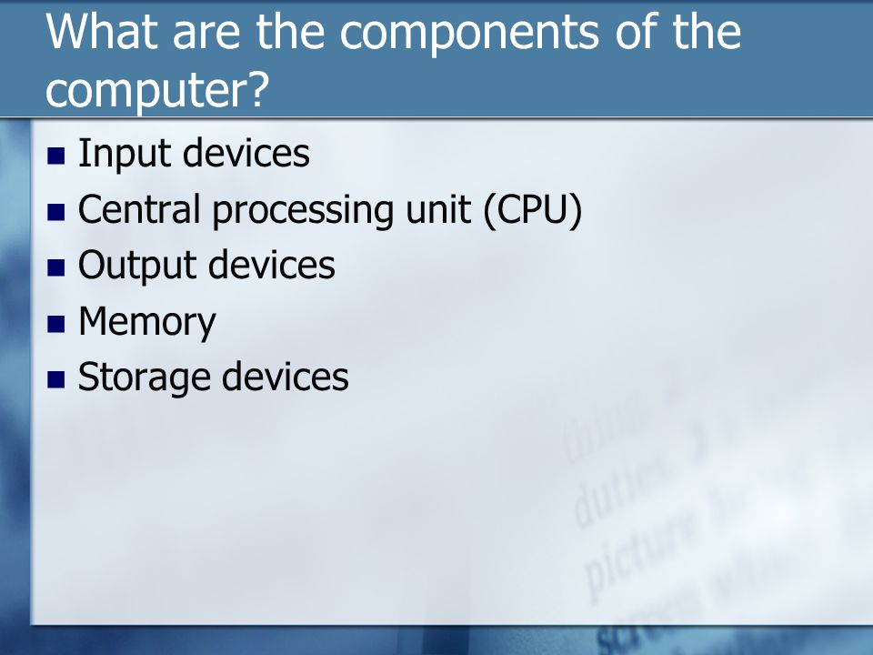 What are the components of the computer.