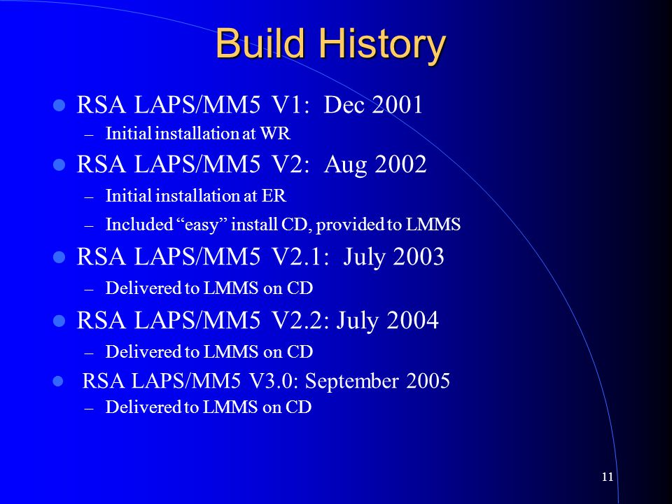 11 Build History RSA LAPS/MM5 V1: Dec 2001 – Initial installation at WR RSA LAPS/MM5 V2: Aug 2002 – Initial installation at ER – Included easy install CD, provided to LMMS RSA LAPS/MM5 V2.1: July 2003 – Delivered to LMMS on CD RSA LAPS/MM5 V2.2: July 2004 – Delivered to LMMS on CD RSA LAPS/MM5 V3.0: September 2005 – Delivered to LMMS on CD