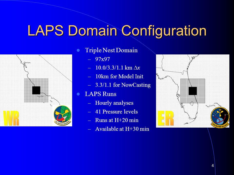 4 LAPS Domain Configuration Triple Nest Domain – 97x97 – 10.0/3.3/1.1 km  x – 10km for Model Init – 3.3/1.1 for NowCasting LAPS Runs – Hourly analyse