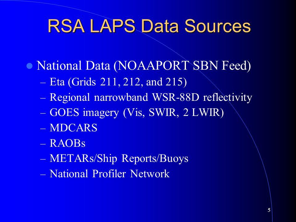 5 RSA LAPS Data Sources National Data (NOAAPORT SBN Feed) – Eta (Grids 211, 212, and 215) – Regional narrowband WSR-88D reflectivity – GOES imagery (V