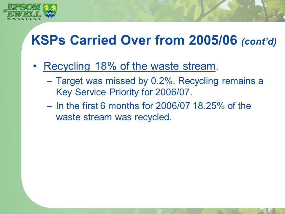 KSPs Carried Over from 2005/06 (cont'd) Recycling 18% of the waste stream. –Target was missed by 0.2%. Recycling remains a Key Service Priority for 20