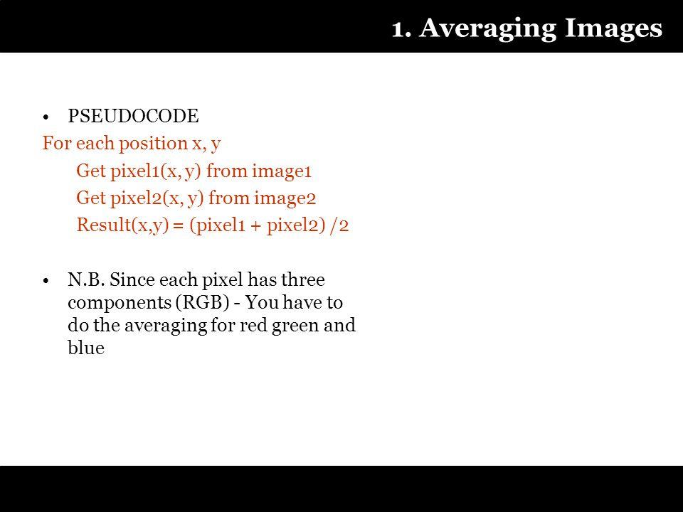 1. Averaging Images PSEUDOCODE For each position x, y Get pixel1(x, y) from image1 Get pixel2(x, y) from image2 Result(x,y) = (pixel1 + pixel2) /2 N.B