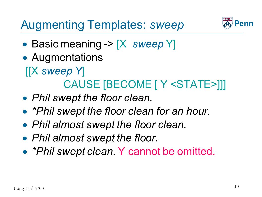 Fong 11/17/03 13 Penn Augmenting Templates: sweep  Basic meaning -> [X sweep Y]  Augmentations [[X sweep Y] CAUSE [BECOME [ Y ]]]  Phil swept the floor clean.