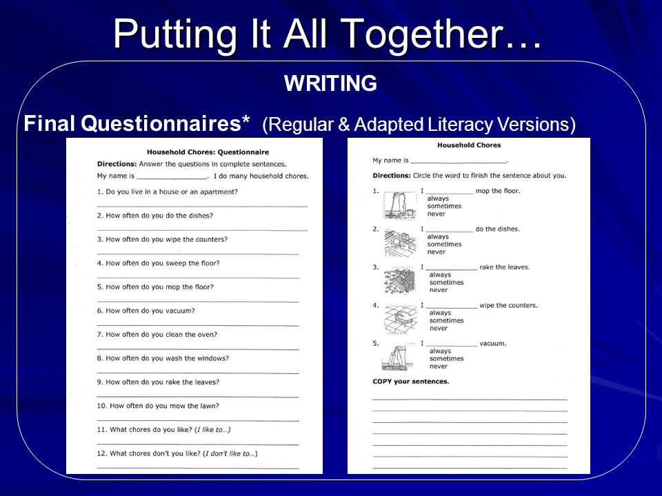Putting It All Together… WRITING Final Questionnaires* (Regular & Adapted Literacy Versions)