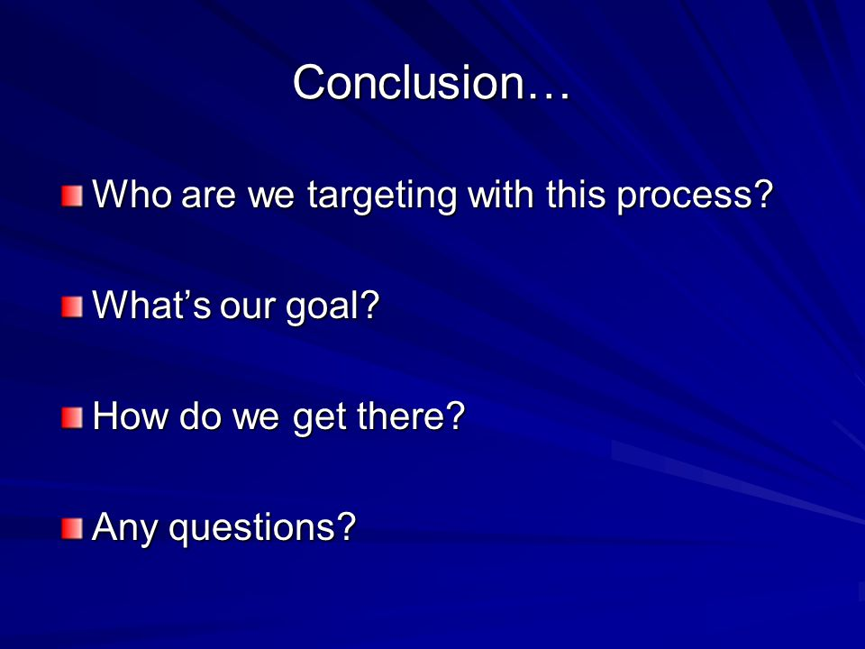 Conclusion… Who are we targeting with this process.