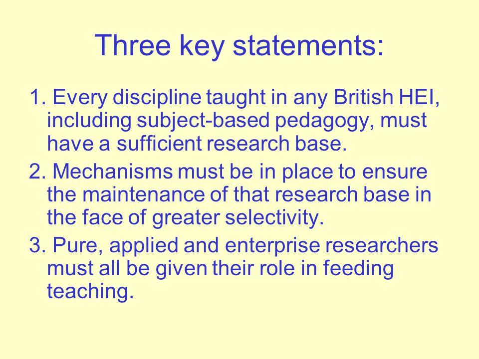 Three key statements: 1.
