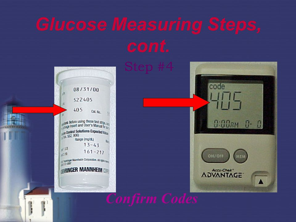 Glucose Measuring Steps, cont. Step #4 Confirm Codes