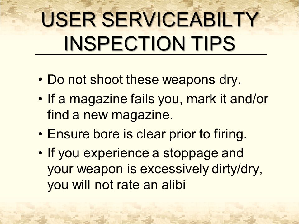 Do not shoot these weapons dry. If a magazine fails you, mark it and/or find a new magazine.