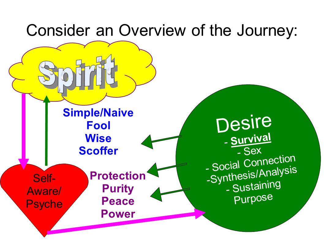 Consider an Overview of the Journey: Desire - Survival - Sex - Social Connection -Synthesis/Analysis - Sustaining Purpose Self- Aware/ Psyche Protection Purity Peace Power Simple/Naive Fool Wise Scoffer