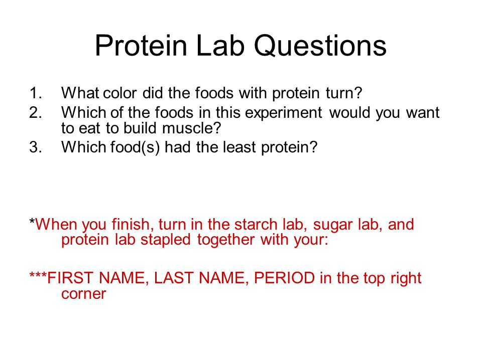 Protein Lab Questions 1.What color did the foods with protein turn.