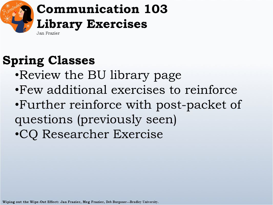 Wiping out the Wipe-Out Effect: Jan Frazier, Meg Frazier, Deb Burgauer---Bradley University. Communication 103 Library Exercises Jan Frazier Spring Cl