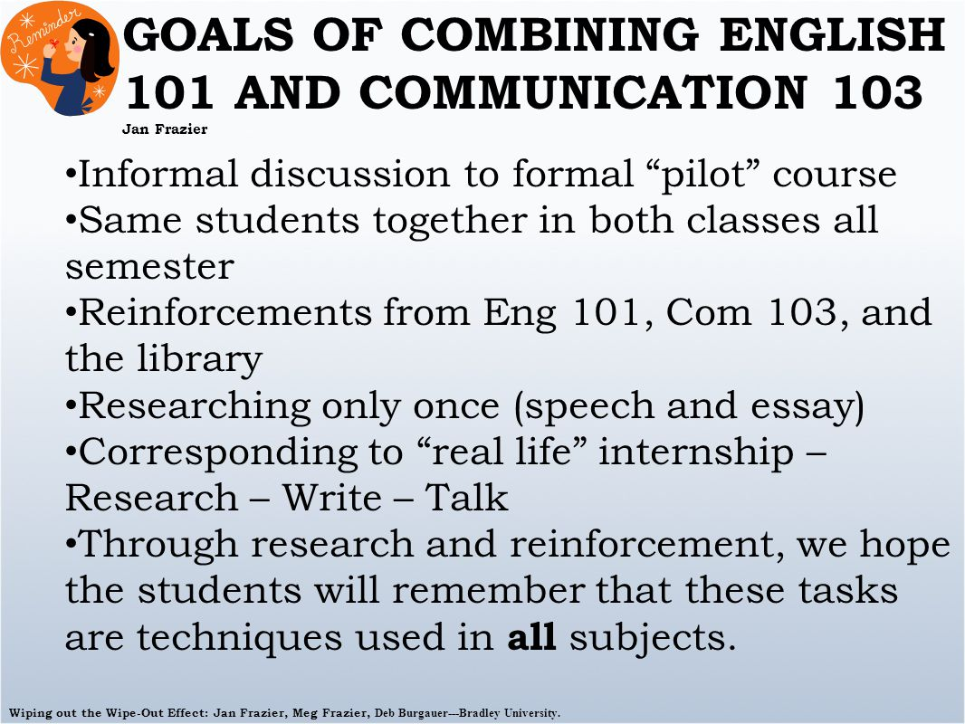 Wiping out the Wipe-Out Effect: Jan Frazier, Meg Frazier, Deb Burgauer---Bradley University. GOALS OF COMBINING ENGLISH 101 AND COMMUNICATION 103 Jan