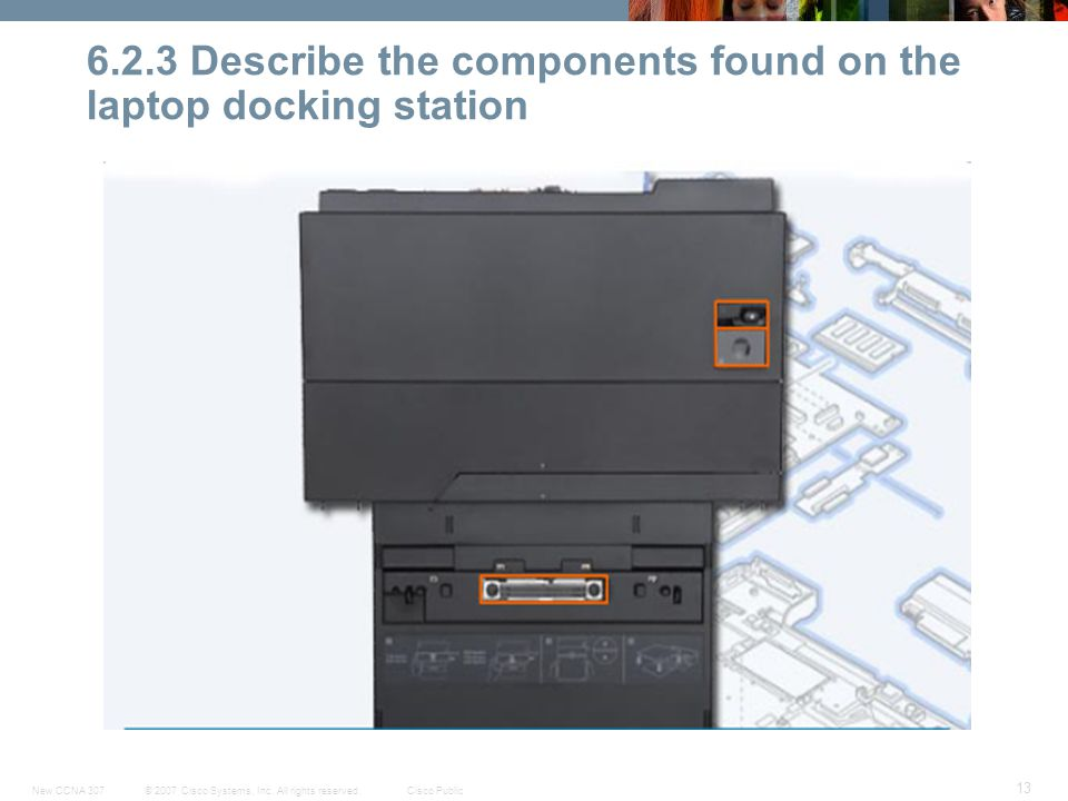 © 2007 Cisco Systems, Inc. All rights reserved.Cisco PublicNew CCNA 307 13 6.2.3 Describe the components found on the laptop docking station