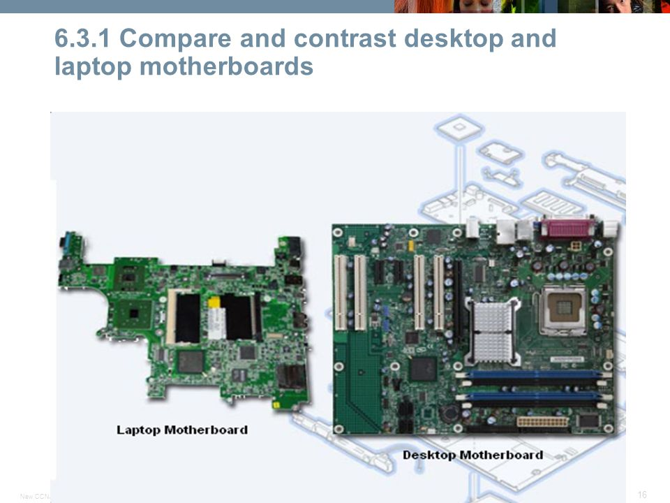 © 2007 Cisco Systems, Inc. All rights reserved.Cisco PublicNew CCNA 307 16 6.3.1 Compare and contrast desktop and laptop motherboards