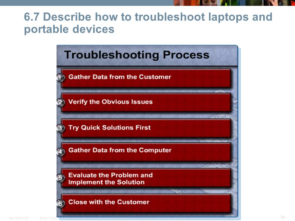© 2007 Cisco Systems, Inc. All rights reserved.Cisco PublicNew CCNA 307 39 6.7 Describe how to troubleshoot laptops and portable devices