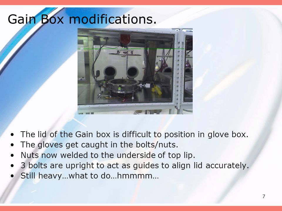 7 Gain Box modifications. The lid of the Gain box is difficult to position in glove box.