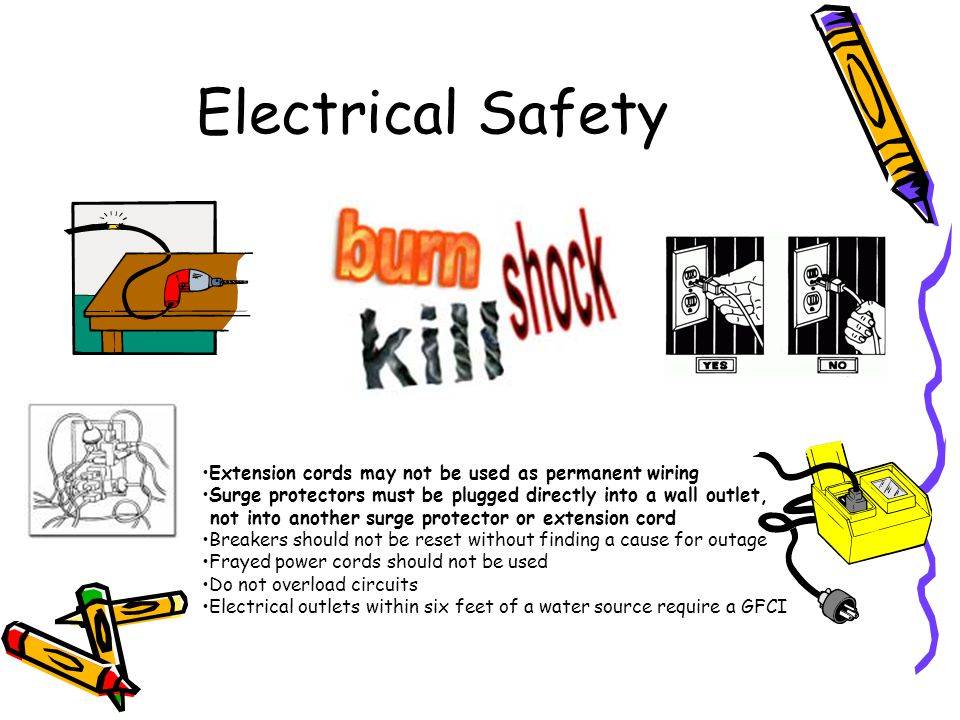 Electrical Safety Extension cords may not be used as permanent wiring Surge protectors must be plugged directly into a wall outlet, not into another s