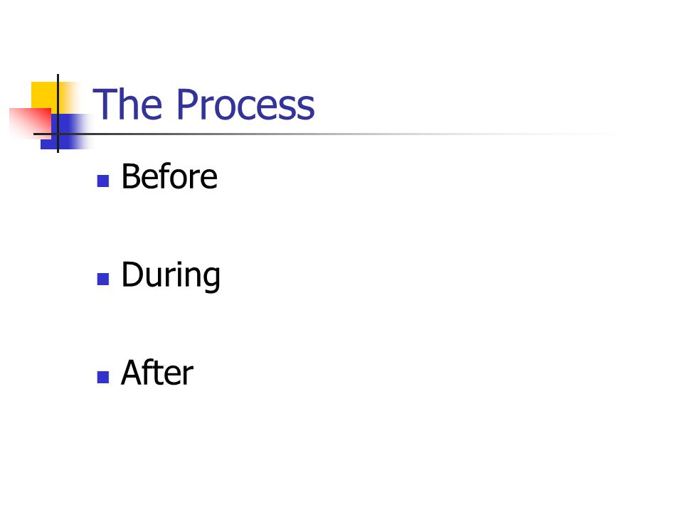 The Process Before During After