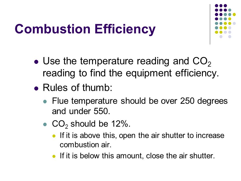 Combustion Efficiency Use the temperature reading and CO 2 reading to find the equipment efficiency.
