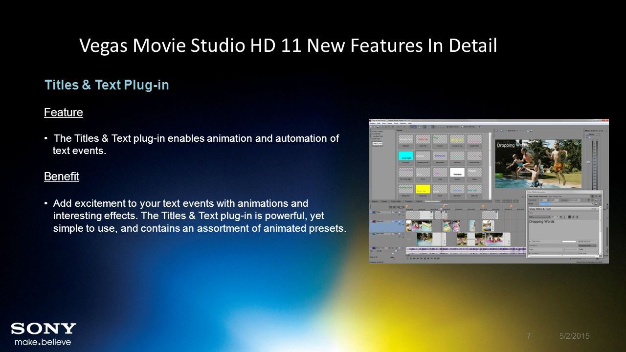 Vegas Movie Studio HD 11 New Features In Detail Gradient Wipes Feature Choose from 28 different Gradient Wipe transitions.