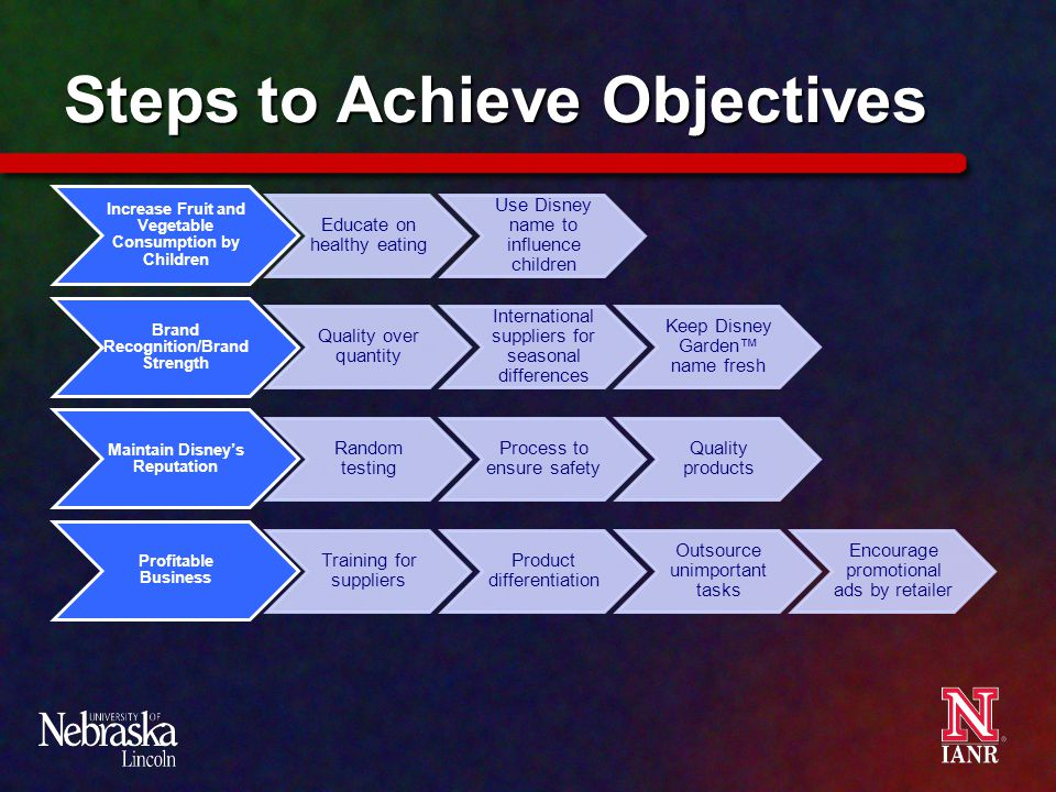 Steps to Achieve Objectives Increase Fruit and Vegetable Consumption by Children Educate on healthy eating Use Disney name to influence children Brand Recognition/Brand Strength Quality over quantity International suppliers for seasonal differences Keep Disney Garden™ name fresh Maintain Disney's Reputation Random testing Process to ensure safety Quality products Profitable Business Training for suppliers Product differentiation Outsource unimportant tasks Encourage promotional ads by retailer