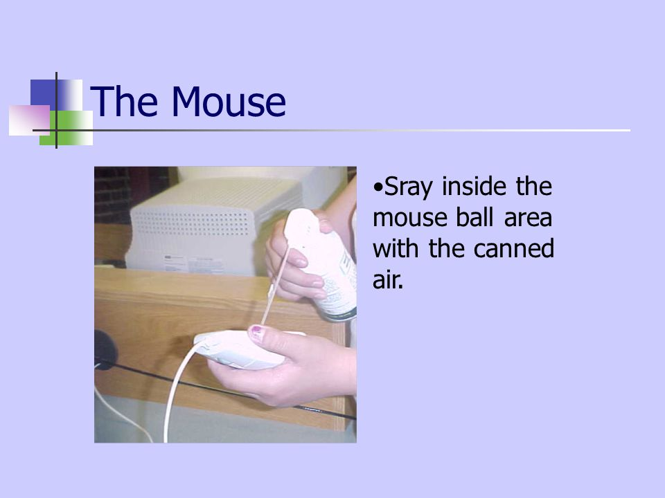 The Mouse Sray inside the mouse ball area with the canned air.