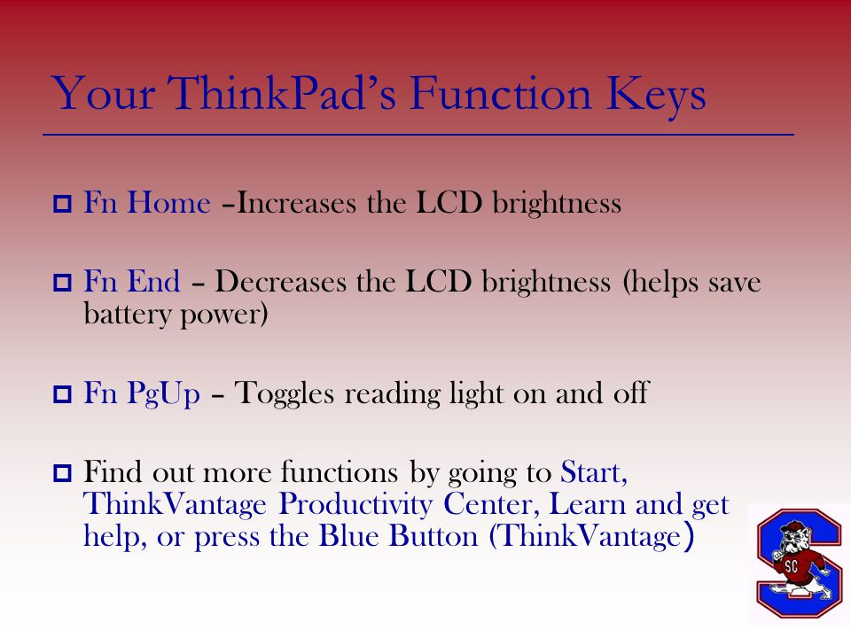 Your ThinkPad's Function Keys  Fn Home –Increases the LCD brightness  Fn End – Decreases the LCD brightness (helps save battery power)  Fn PgUp – Toggles reading light on and off  Find out more functions by going to Start, ThinkVantage Productivity Center, Learn and get help, or press the Blue Button (ThinkVantage )