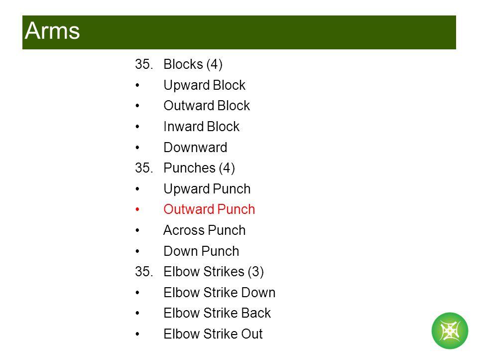 Arms 35.Blocks (4) Upward Block Outward Block Inward Block Downward 35.Punches (4) Upward Punch Outward Punch Across Punch Down Punch 35.Elbow Strikes (3) Elbow Strike Down Elbow Strike Back Elbow Strike Out