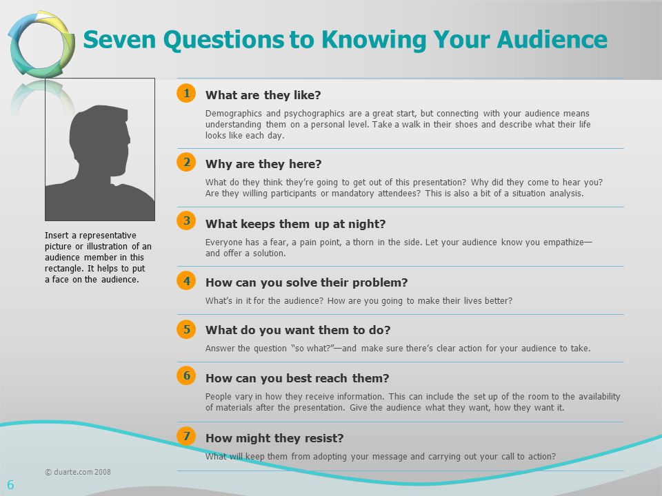 Seven Questions to Knowing Your Audience Why are they here? What do they think they're going to get out of this presentation? Why did they come to hea