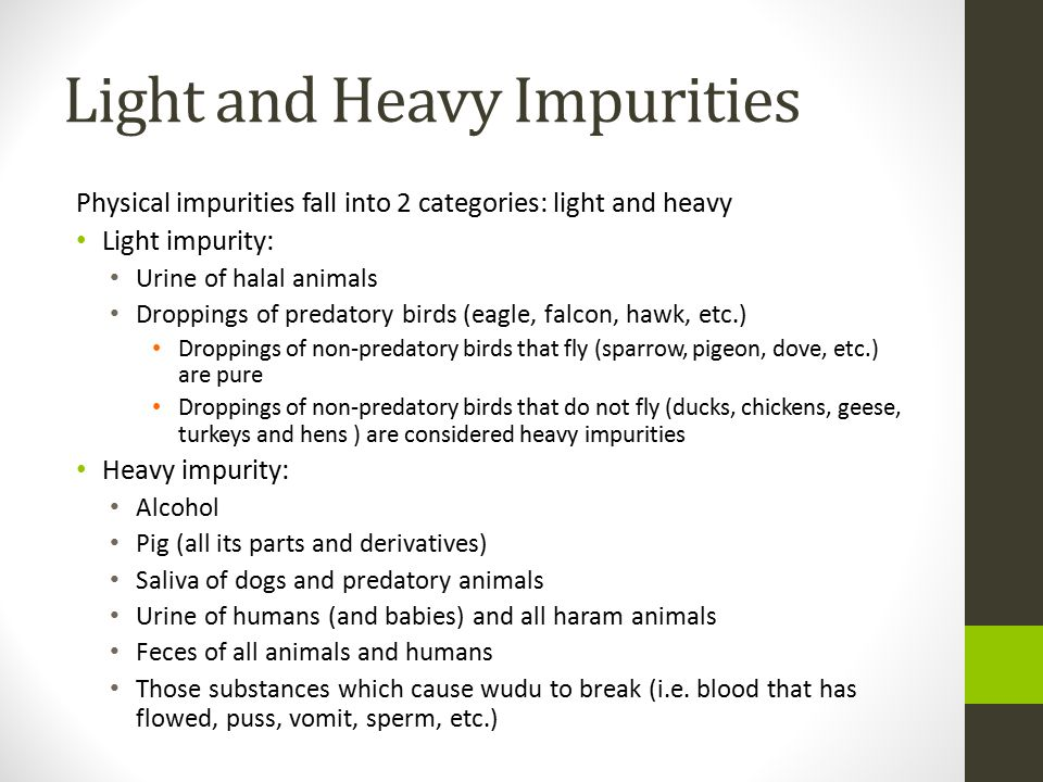 Light and Heavy Impurities Physical impurities fall into 2 categories: light and heavy Light impurity: Urine of halal animals Droppings of predatory birds (eagle, falcon, hawk, etc.) Droppings of non-predatory birds that fly (sparrow, pigeon, dove, etc.) are pure Droppings of non-predatory birds that do not fly (ducks, chickens, geese, turkeys and hens ) are considered heavy impurities Heavy impurity: Alcohol Pig (all its parts and derivatives) Saliva of dogs and predatory animals Urine of humans (and babies) and all haram animals Feces of all animals and humans Those substances which cause wudu to break (i.e.