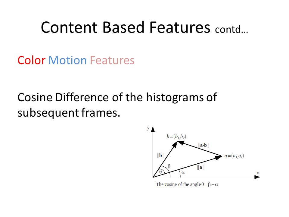Content Based Features contd… Color Motion Features Cosine Difference of the histograms of subsequent frames.
