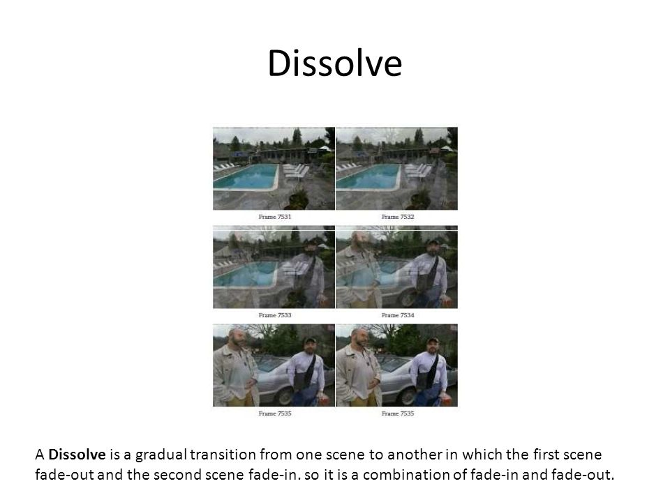 Dissolve A Dissolve is a gradual transition from one scene to another in which the first scene fade-out and the second scene fade-in. so it is a combi