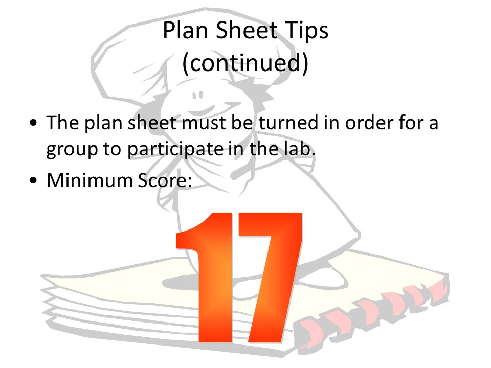Plan Sheet Tips (continued) The plan sheet must be turned in order for a group to participate in the lab.