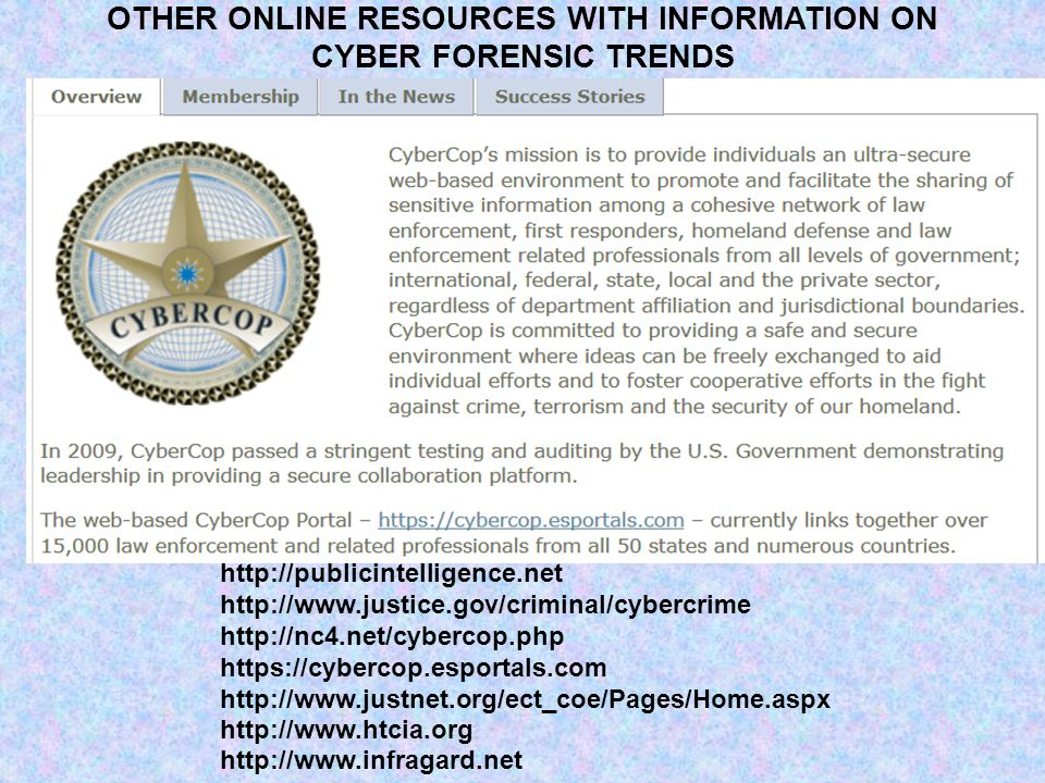 http://publicintelligence.net http://www.justice.gov/criminal/cybercrime http://nc4.net/cybercop.php https://cybercop.esportals.com http://www.justnet.org/ect_coe/Pages/Home.aspx http://www.htcia.org http://www.infragard.net OTHER ONLINE RESOURCES WITH INFORMATION ON CYBER FORENSIC TRENDS