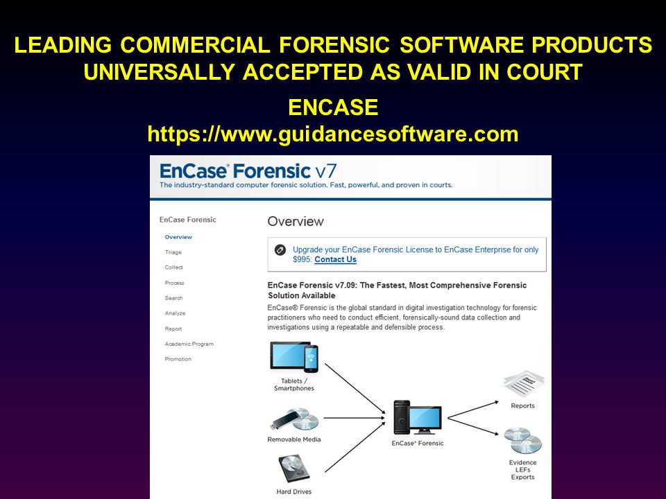LEADING COMMERCIAL FORENSIC SOFTWARE PRODUCTS UNIVERSALLY ACCEPTED AS VALID IN COURT ENCASE https://www.guidancesoftware.com