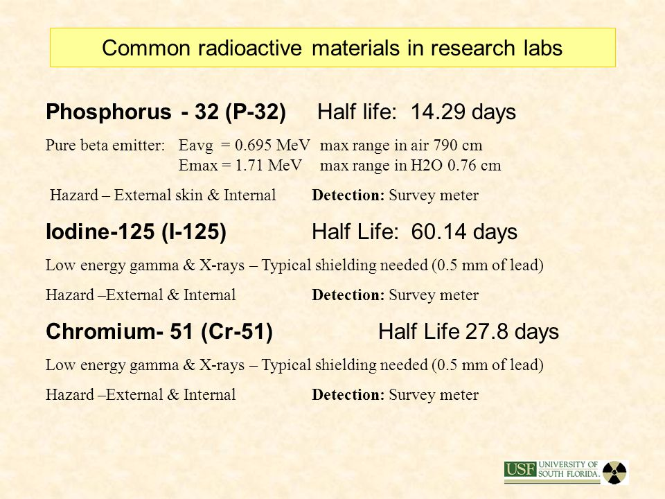 3) Common Research Radioactive Materials Carbon 14 (C-14)Half life: 5730 years Pure beta emitter:Eavg = 0.049 MeVMax range in air 24 cm Emax = 0.156 M
