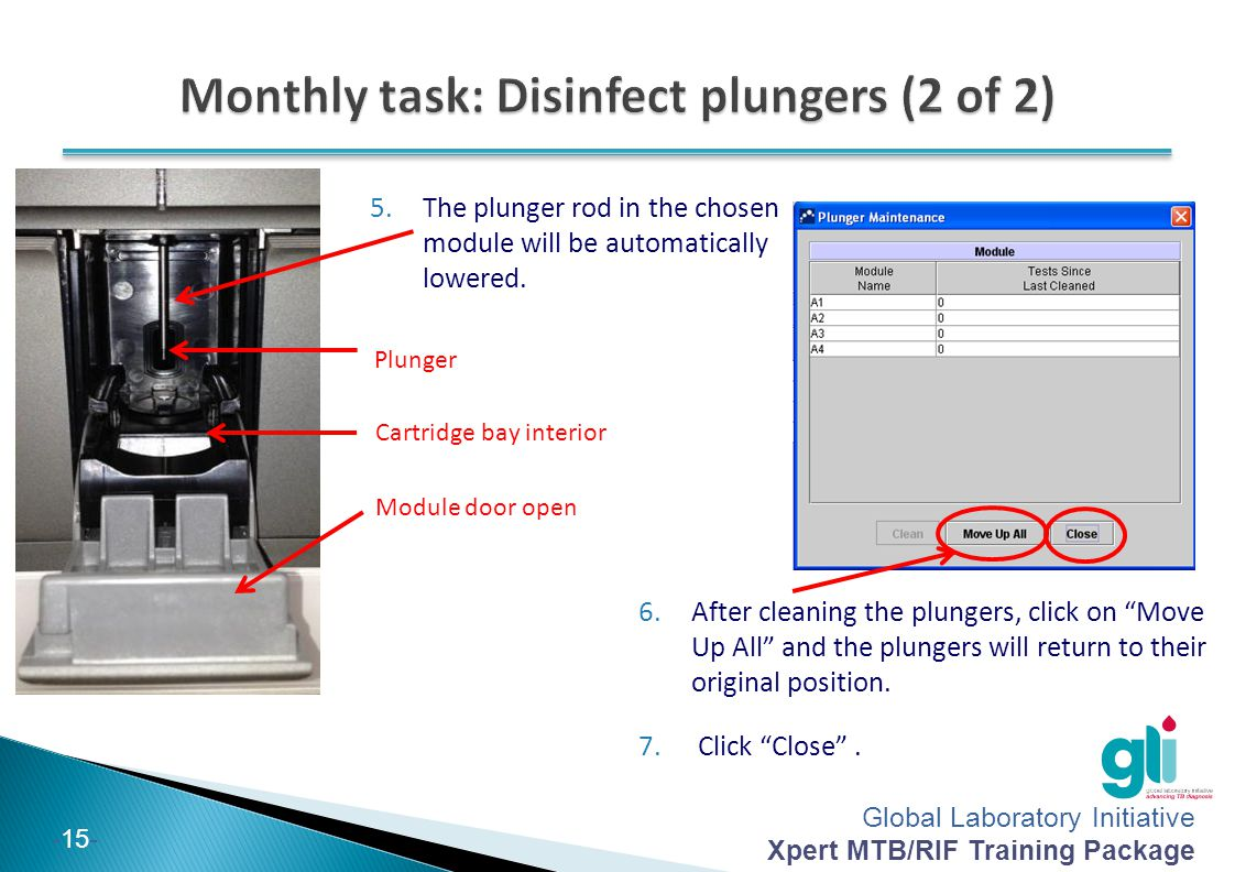 Global Laboratory Initiative Xpert MTB/RIF Training Package -15- 5.The plunger rod in the chosen module will be automatically lowered. Plunger Cartrid