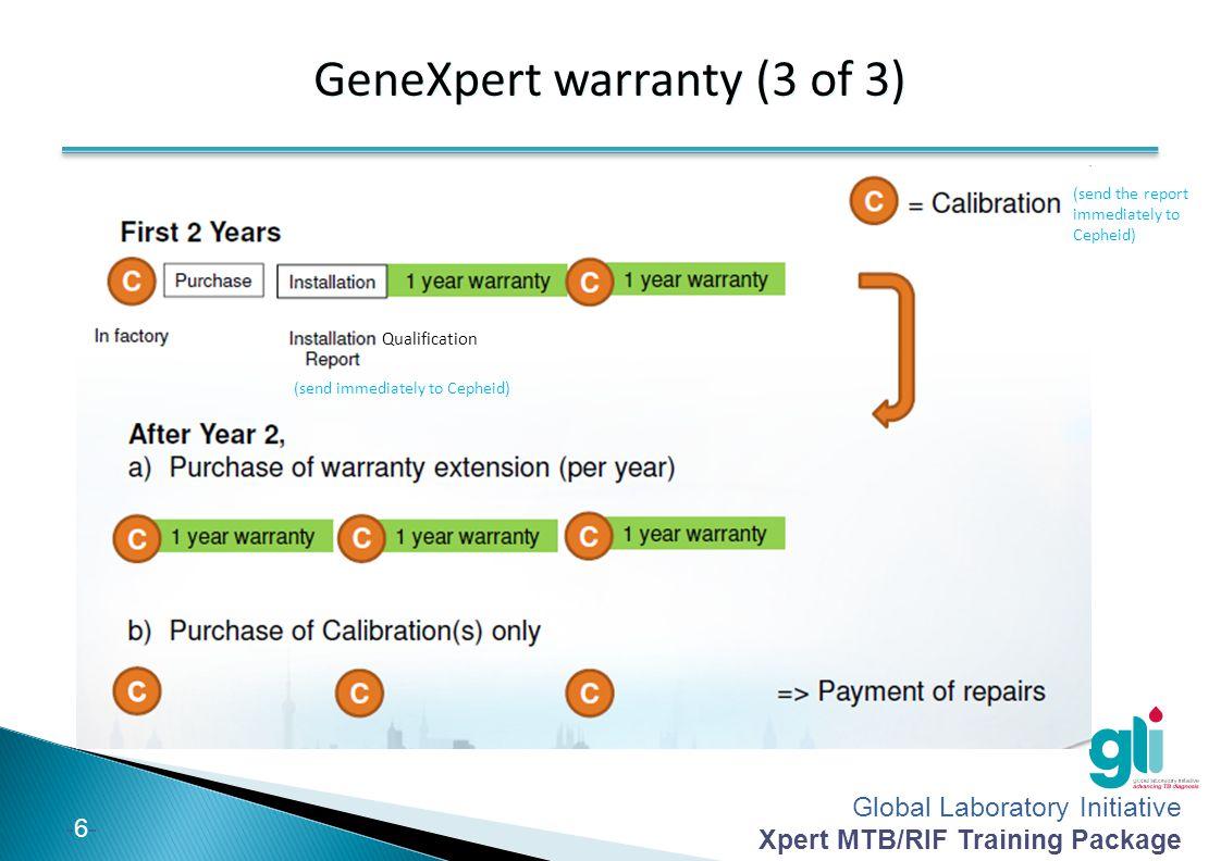 Global Laboratory Initiative Xpert MTB/RIF Training Package -6--6- GeneXpert warranty (3 of 3) Qualification (send immediately to Cepheid) (send the r