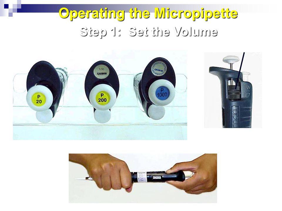 Volume Adjustment Knob: Digital Volume Indicator: Step 1: Set the Volume Operating the Micropipette